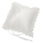 ivory satin squeare ring cushion with scalloped edge