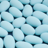 1kg box of blue sugared almonds