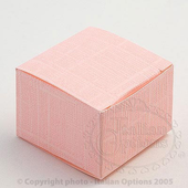 pink silk square wedding favour box