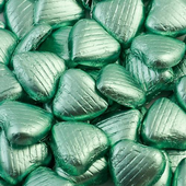 light green foiled milk chocolate heart