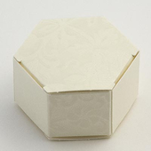 Ivory Diamante Hexagon Wedding Favour Boxes