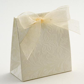 Ivory Diamante Satchel / Purse Wedding Favour Boxes