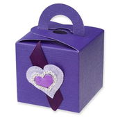purple silk square box with handle