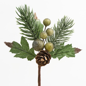 Pine cones and green berry spray - pk 12