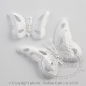50 small white satin butterfly