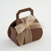 Brown Silk Hand Bag Wedding Favour Boxes