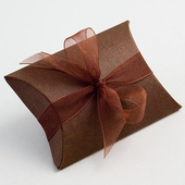 Brown Silk Pillow / Pouch Wedding Favour Boxes