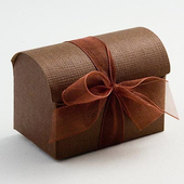 Brown Silk Wedding Favour Chest Boxes