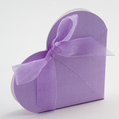 Lilac Silk Heart Wedding Favour Box