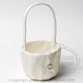 tall ivory flower girl basket