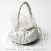round ivory flower girls basket