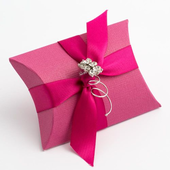 Fuchsia silk pillow bustina favour box