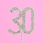 diamante number 30 cake topper