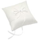 ivory satin ring cushion with ribbon