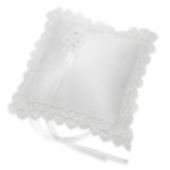 white satin square ring cushion with scalloped edge