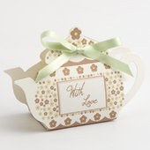 With love taupe tea pot favour box