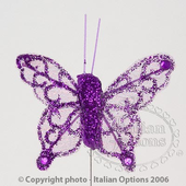 Purple Sheer Glitter Butterfly Wedding Favour Decorations