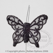 Black Sheer Glitter Butterfly Wedding Favour Decorations