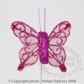 Cerise Sheer Glitter Butterfly Wedding Favour Decorations