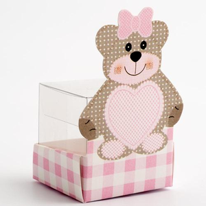 pink teddy bear box and clear cube