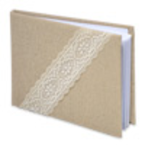 Linen and lace blank guest book
