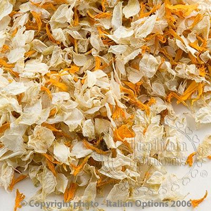 Wedding Confetti Natural Dried Delphinium Petals Gold and Ivory