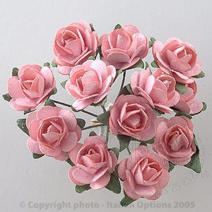 12 Pink Paper Tea Rose Buds Wedding Favour Decorations